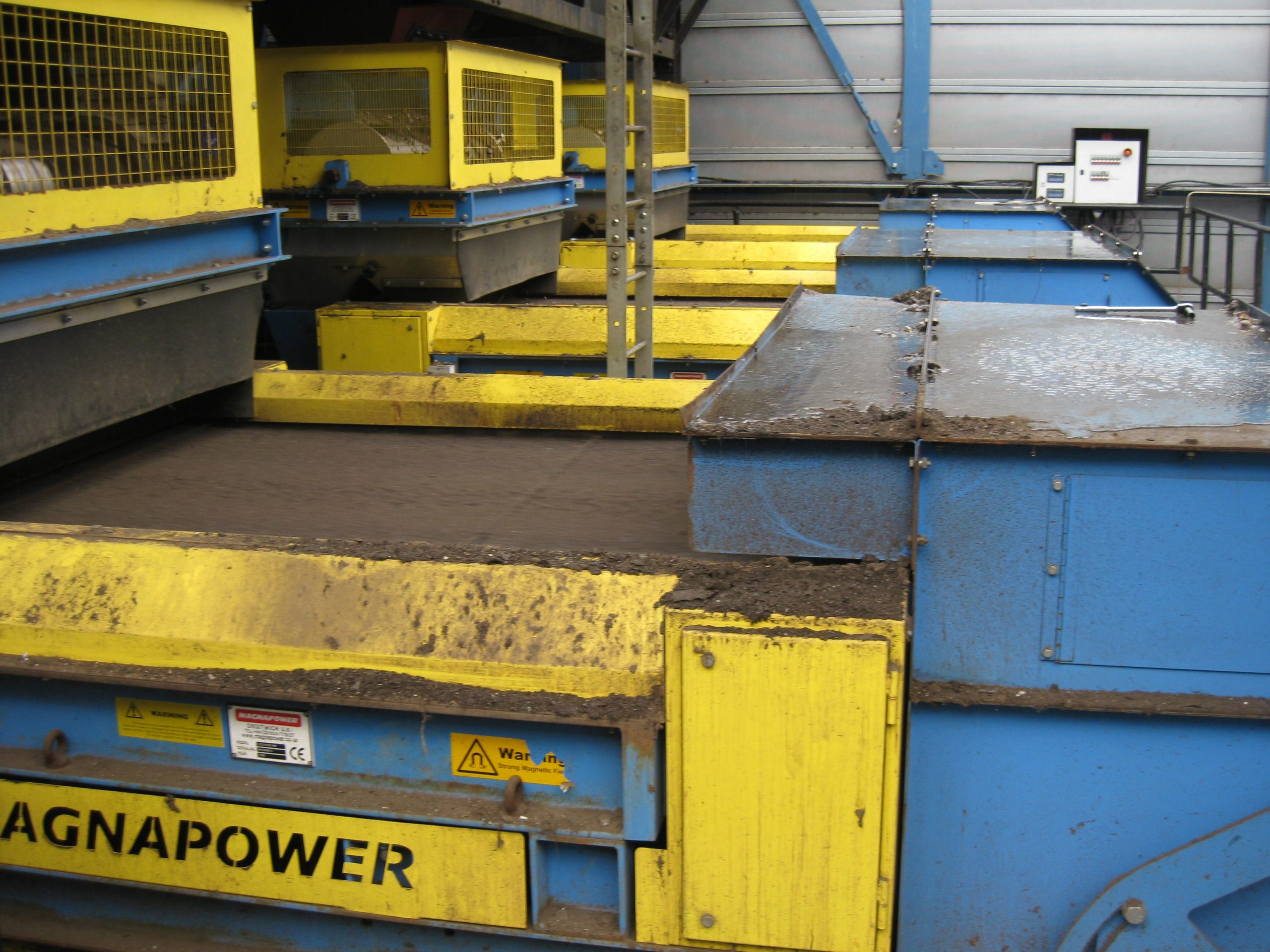 3 x ECS 1500 units sorting sized non-ferrous from ASR after trommel