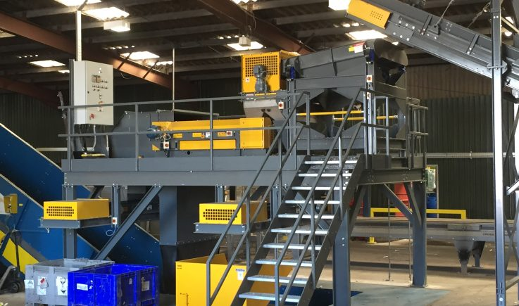 ECS 1500 with feeder and drum magnet - Magnapower Eddy Current Separator