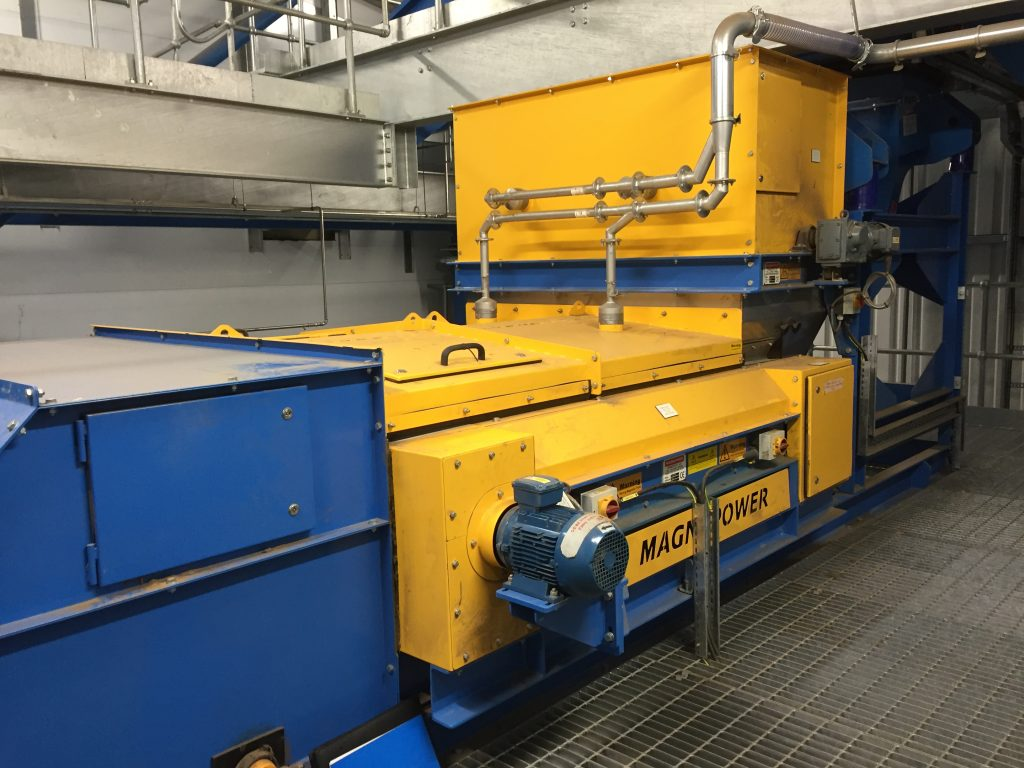 Eddy Current Separator with dust covers for wood waste processing