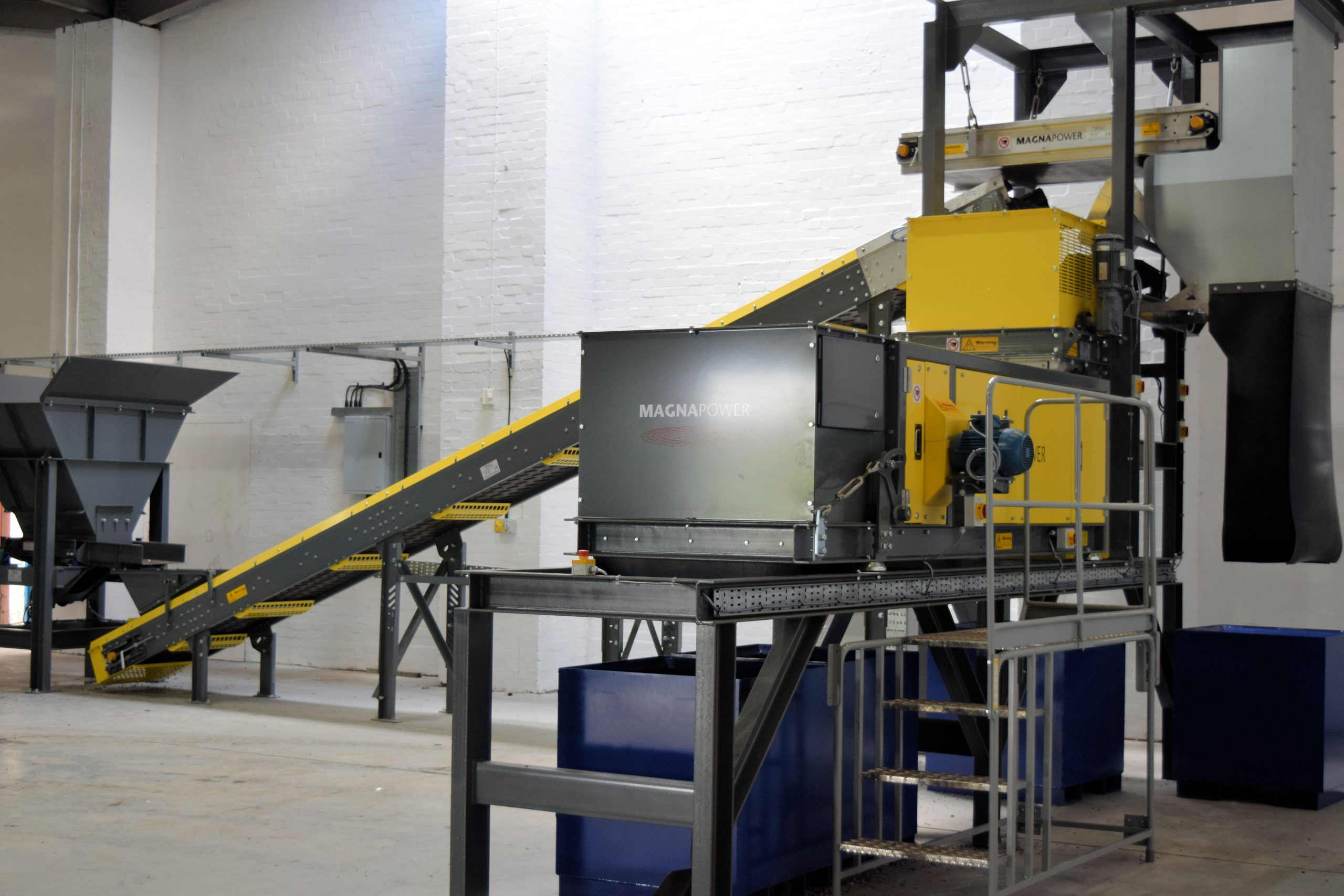 Hopper, conveyor, in-line overband and Superfines ECS