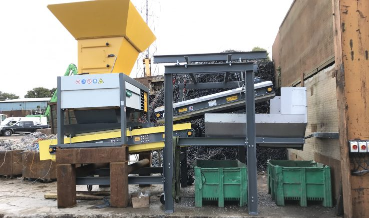 Inline Overband removal of ferrous metal from shredded cable