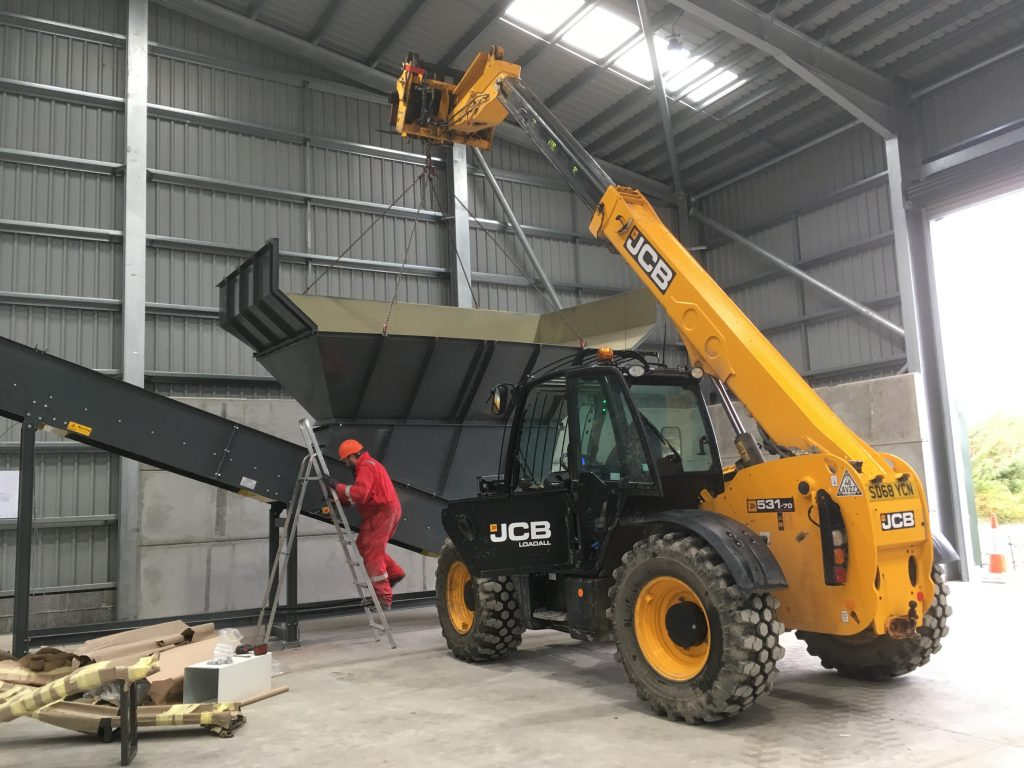 Installation of hopper in Magnapower dry recyclables sorting plant