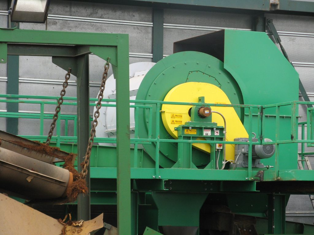 Primary ferrous separation Frag Drum after hammer mill