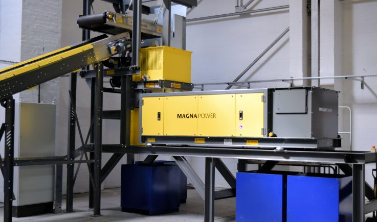 Superfines Eddy Current in pilot plant - metals recovery