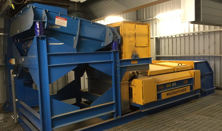 Vibratory Feeder Drum and Eddy Current with Dust Covers for wood waste