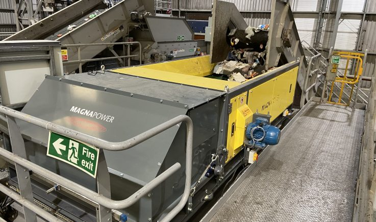 Eddy Current Separator sorting non ferrous from clean domestic recyclables