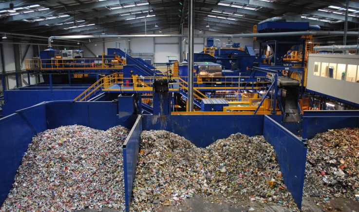 Magnapower ECS sorting ferrous and aluminium in household waste sorting plant