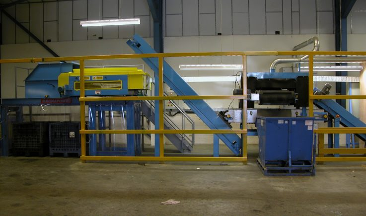 WEEE processing plant sorting ferrous and non-ferrous metals